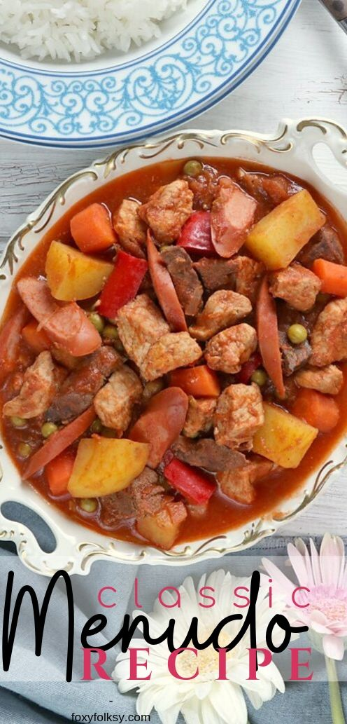 Have a feast with this classic Filipino Menudo recipe. A tomato-based stew of pork meat and liver usually served at special occasions like Fiestas. | www.foxyfolksy.com #filipinorecipe #filipinofood #asianfood #recipes #porkrecipe #foxyfolksy