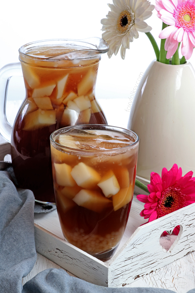 Try this Sago't Gulaman drink. A Filipino sweet beverage made from brown sugar syrup with tapioca pearls and almond jelly. | www.foxyfolksy.com