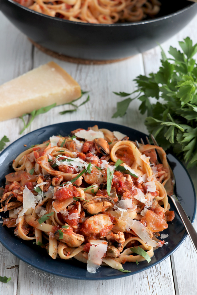Try this seafood pasta recipe for a quick and easy, delicious pasta dish. | www.foxyfolksy.com