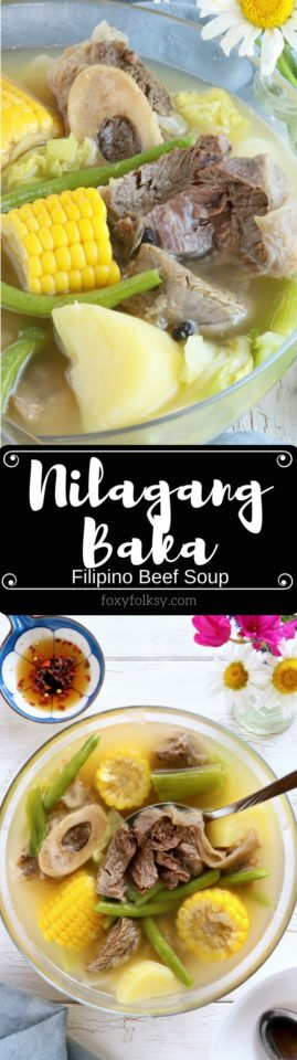 Nilagang Baka is a Filipino beef soup cooked until the meat is really tender and with vegetables like potatoes, beans and cabbage that makes this simple soup healthy and flavorful. | www.foxyfolksy.com