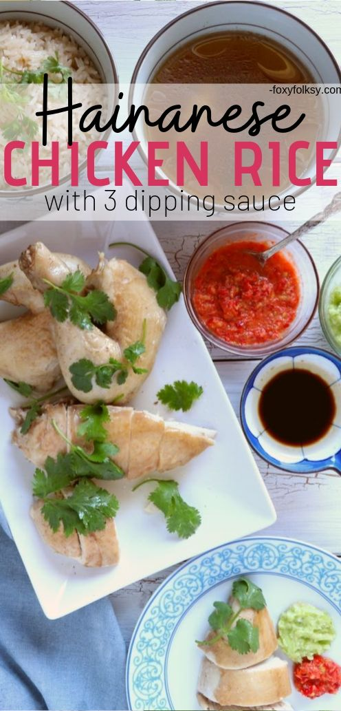 Get this Hainanese Chicken Rice recipe with 3 dipping sauces! A 3-in-1 dish that you will surely love. This chicken, rice, and soup combo is just amazing!   www.foxyfolksy.com #chickenrecipe #asianfood #recipes #foxyfolksy