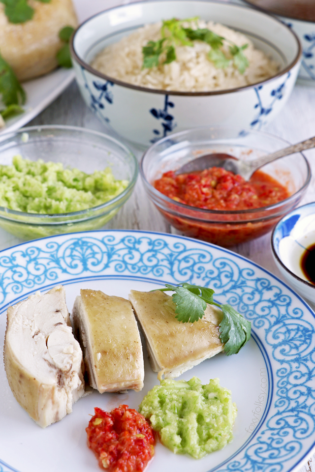 Get this Hainanese Chicken Rice recipe with 3 dipping sauces! A 3-in-one dish that you will surely love! | www.foxyfolksy.com