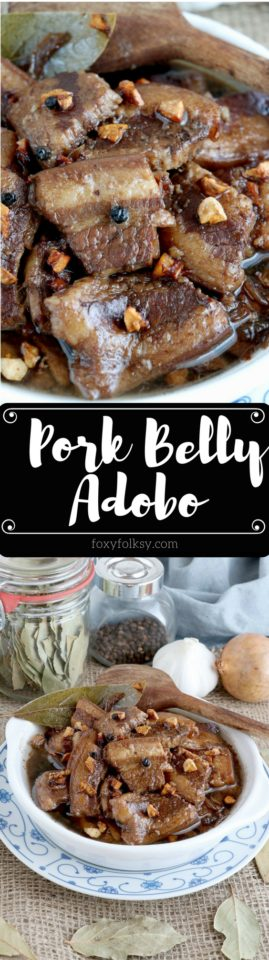 Try this melt in your mouth Pork Adobo Recipe using pork belly. | www.foxyfolksy.com