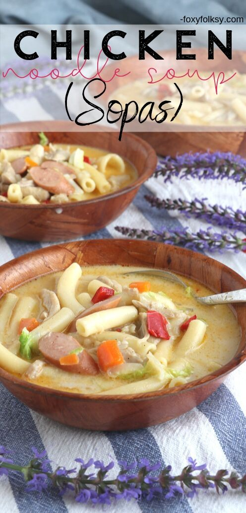 Sopas is a Filipino chicken noodle soup cooked with milk and packed with vegetables. A hearty, healthy comfort food perfect for cold or rainy days. | www.foxyfolksy.com #soup #filipinofood #comfortfood #filipinorecipe #chickennoodlesoup