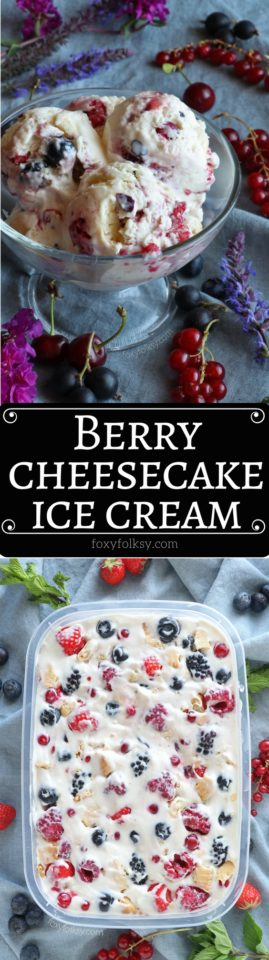 You've just got to try this no-churn Berry Cheesecake Ice cream! So creamy and delicious with fresh berries! | www.foxyfolksy.com