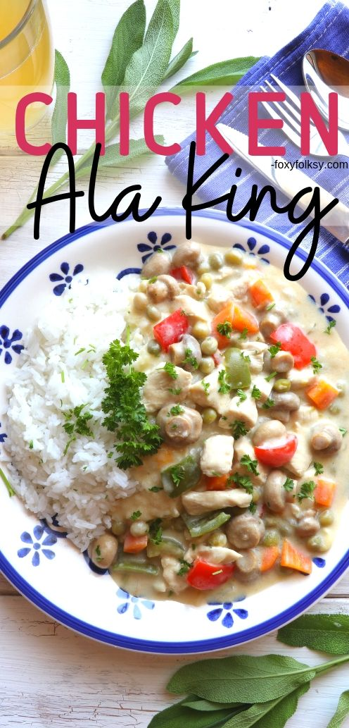 Chicken ala King is definitely one of those classic chicken recipes you should have in your repertoire. Really quick and easy to make and very versatile. | www.foxyfolksy.com #chickenrecipe #recipes #maindish #foxyfolksy
