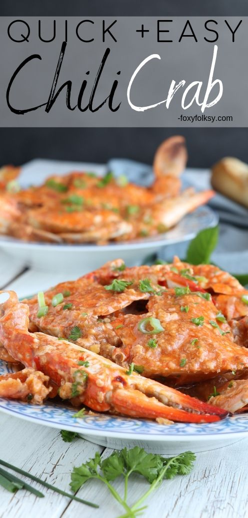 Get this easy and simple recipe for this yummy Chili Crab that has the perfect blend of sweet and spicy! | www.foxyfolksy.com #seafoodrecipe #recipes #crab #foxyfolksy