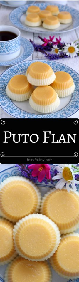 Two loved Filipino dessert in one! Puto Flan is a combo of Leche Flan and Puto! Get recipe now! | www.foxyfolksy.com