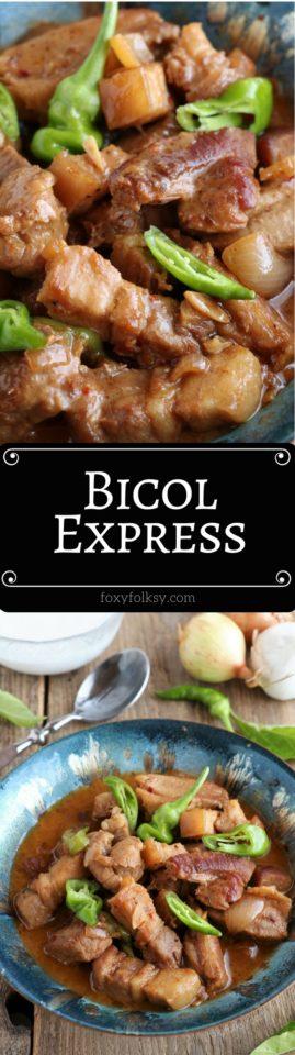 Try this popular Filipino dish, Bicol Express! A spicy pork stew in coconut milk.   www.foxyfolksy.com