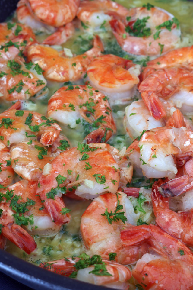 Get this easy, delicious Garlic Butter Shrimp Recipe . It has a secret ingredient that makes the shrimps sweeter and tastier. | www.foxyfolksy.com