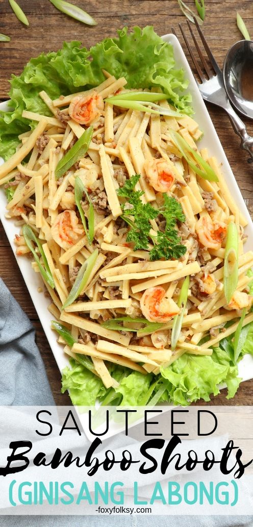 Try this healthy and delicious Sauteed Bamboo Shoots recipe. Low in calorie and rich in dietary fiber and a good source of vitamins and minerals. | www.foxyfolksy.com #filipinorecipe #pinoyfood #vegetablerecipe #recipes