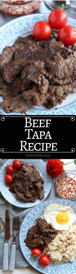 Beef tapa is a type of cured meat of thin slices of tender beef. A popular breakfast that is usually served with a sunny-side up egg and fried rice. | www.foxyfolksy.com