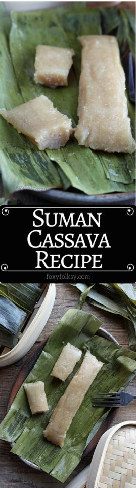 Cassava Suman is a Filipino delicacy of steaming a mixture of grated cassava, coconut milk, and sugar in banana leaves. Try this great Cassava recipe now!   www.foxyfolksy.com