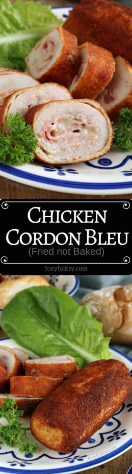 Make these delicious Chicken Cordon Blue. Fried to perfection with crispy outer breading and juicy chicken inside! | www.foxyfolksy.com