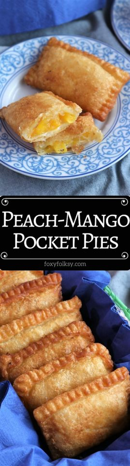 Try this easy recipe for these yummy Peach Mango Pocket Pies! | www.foxyfolksy.com