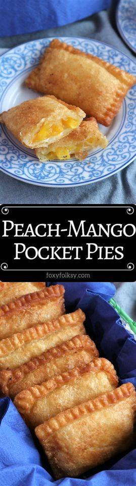 Try this easy recipe for these yummy Peach Mango Pocket Pies!   www.foxyfolksy.com