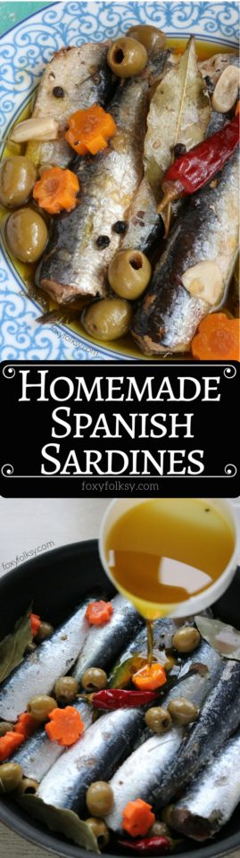 Make your own homemade Spanish Sardines with this super easy recipe. Store them in jars to give to your friends or to sell.   www.foxyfolksy.com