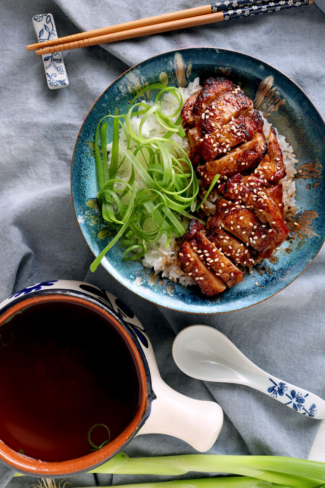 teriyaki chicken on a bowl of rice