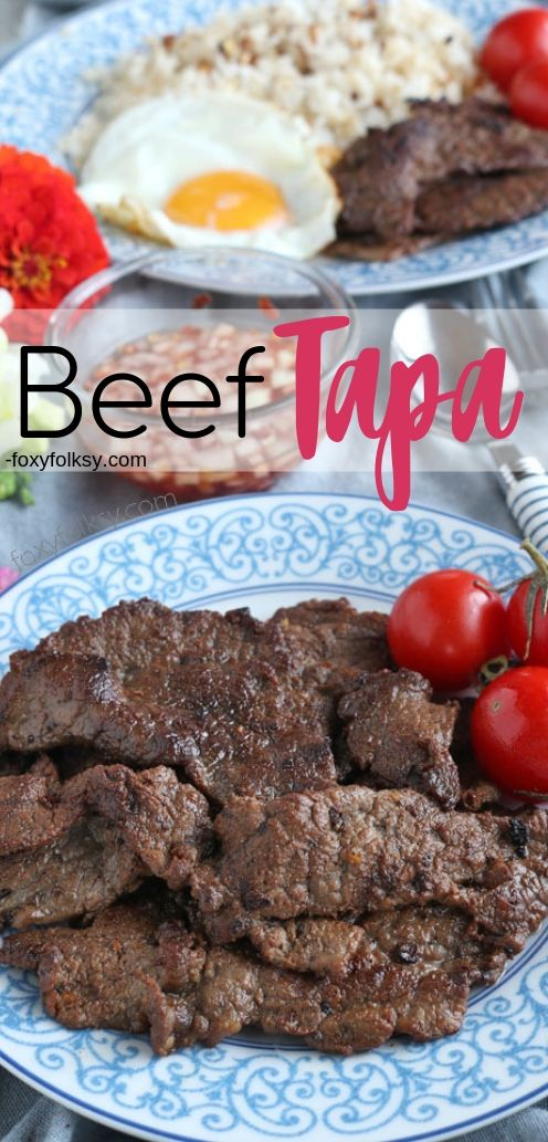 Beef tapa is a type of cured meat of thin slices of tender beef. A popular breakfast that is usually served with a sunny-side up egg and fried rice. This trio is then known as \'Tapsilog\', that is short for Tapa, Sinangag (fried rice), Itlog (egg). | www.foxyfolksy.com #filipinofood #pinoyfood #recipes #breakfast #beefrecipe #foxyfolksy