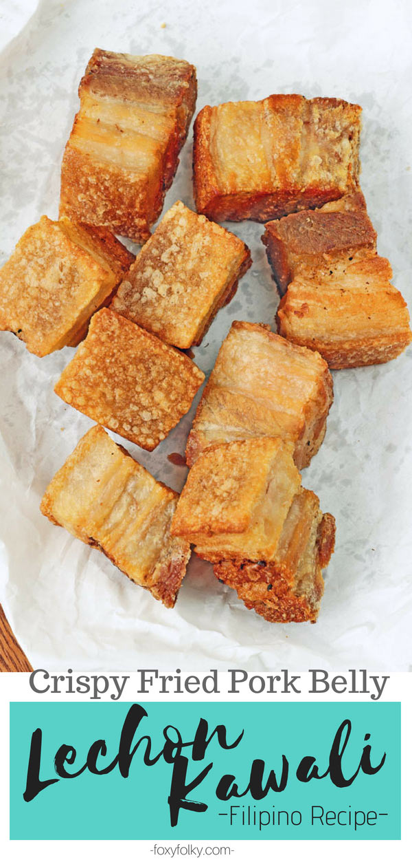 Learn the secret in making the best Lechon Kawali, an all-time Filipino favorite dish of crispily fried pork belly! Deliciously crunchy in every bite! |www.foxyfolksy.com #pork #filipino #deepfried