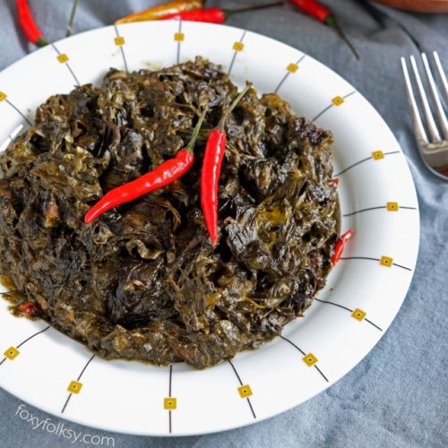 Get this authentic Bicolano Laing recipe! Dried Taro leaves cooked in coconut milk with chilis! Simple no-fuss recipe! | www.foxyfolksy.com