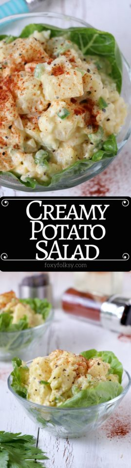 Get this easy classic potato salad recipe made creamy and tasty with mayonnaise, hard-boiled eggs, mustard, onions, bell peppers and celery. | www.foxyfolksy.com