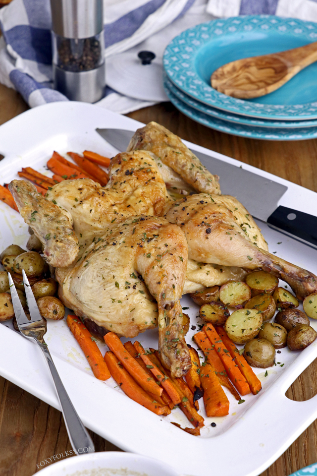 Get this super simple but delectable, juicy on the inside and crispy on the outside, roast chicken recipe! | www.foxyfolksy.com