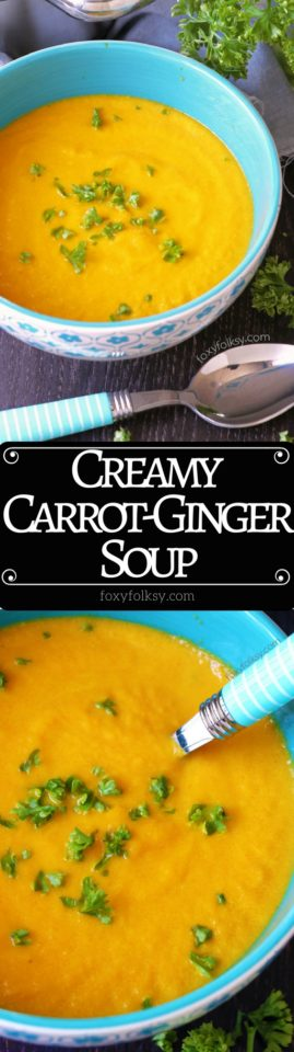 This thick and creamy Carrot Ginger Soup is a sure way to stay warm and healthy this chilly season! Nutritious and delicious that is really simple and quick to make. | www.foxyfolksy.com