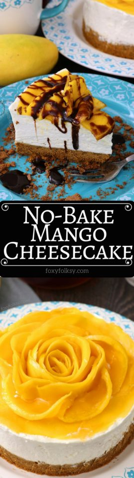 This No Bake Mango Cheesecake is probably the easiest cheesecake recipe I've done. Mildly sweetened to enhance the natural flavors. Try it now! | www.foxyfolksy.com