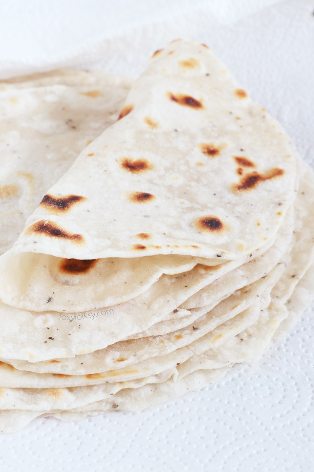 Try making these homemade Tortillas. It is so simple and easy to prepare you will never have to buy them anymore. Use it for tacos, burritos, quesadillas, and various wraps. | www.foxyfolksy.com