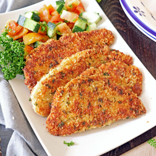 Try this deliciously crispy outside and juicy inside, Parmesan Crusted Chicken Recipe. Yet another tasty, quick and easy recipe to enjoy!   www.foxyfolksy.com