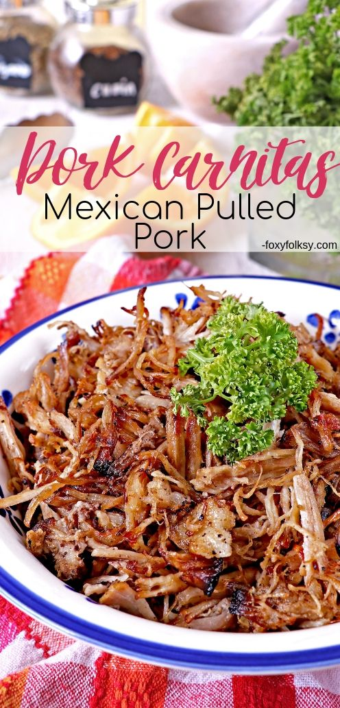 This Pork Carnitas (Mexican Pulled Pork) recipe uses the traditional way of slow cooking without any special kitchen gadget involved. Enjoy every shred of tender, juicy meat packed with delicious flavors. | www.foxyfolksy.com #recipes #porkrecipes #foxyfolksy #mexican #slowcooking
