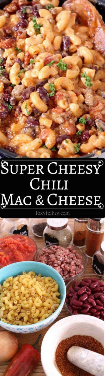 Cozy up and enjoy the combined goodness of the all-time American classics with this super cheesy Chili Mac and Cheese. | www.foxyfolksy.com