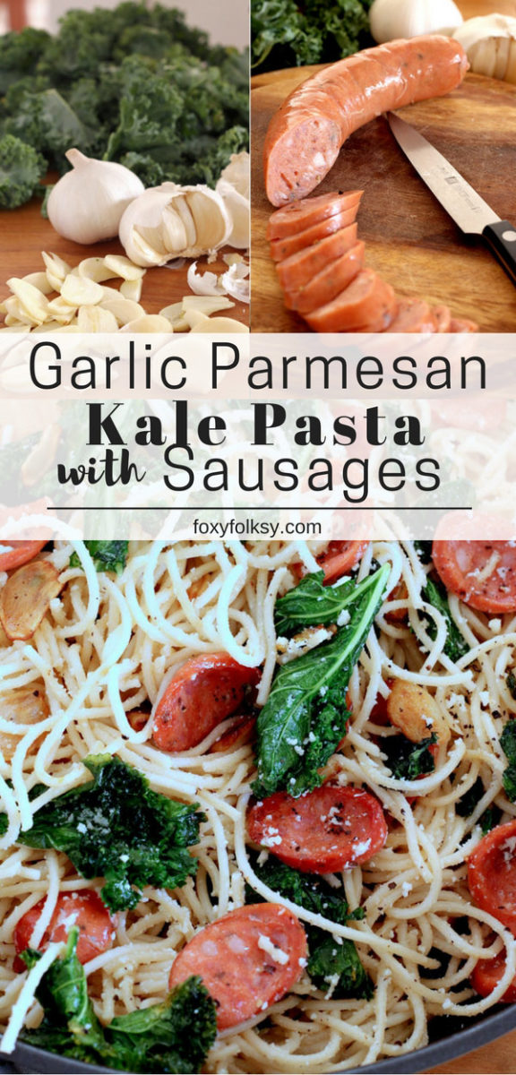 Kale Pasta made flavorful with loads of garlic, grated Parmesan, and slices of Hungarian sausages. A complete meal in one easy dish! | www.foxyfolksy.com
