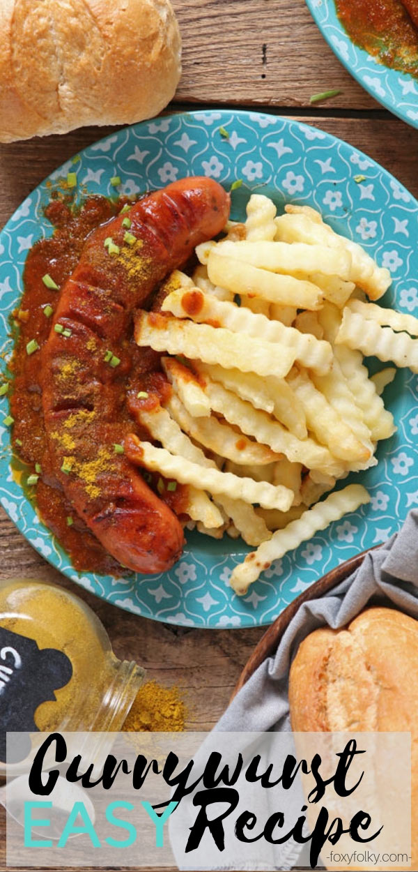 Currywurst is a fried or grilled sausage slathered with a special sauce made mainly from ketchup, curry and other spices. | www.foxyfolksy.com #germanfood #quickrecipes #currywurst