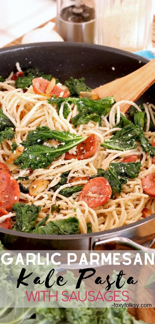 A simple Kale pasta recipe that is deliciously healthy and a breeze to make. Made flavorful with loads of garlic, grated Parmesan, and slices of Hungarian sausages. A complete meal in one easy dish! | www.foxyfolksy.com #sidedish #salad #healthyrecipe #foxyfolksy
