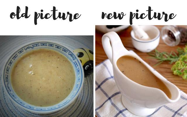 old and new gravy photo comparison