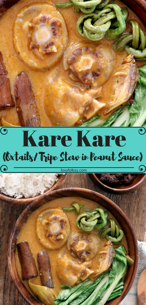 Kare Kare is a classic Filipino slow-cook stew, usually using oxtail and/or ox tripe, with deliciously thick deep yellow peanut sauce with some vegetables. |www.foxyfolksy.com #filipinofood #filipinorecipes #stew