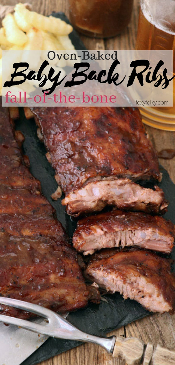 You bake these baby back ribs in the ovenin beer and some simple spices until it becomes so tender and juicy that they literallyfall-off-the-bone. Effortlessly delicious and perfect for indoor barbecue parties. | www.foxyfolksy.com #ribs #babybackribs #barbecue #grill #ovengrill
