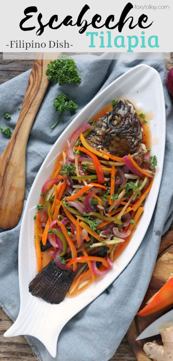 Make this colorful, tangy-sweet Filipino Escabeche or Sweet and Sour Fish and bring your plain fried fish to the next level of goodness.   www.foxyfolksy.com #fish #filipinorecipe #filipinofood #escabeche