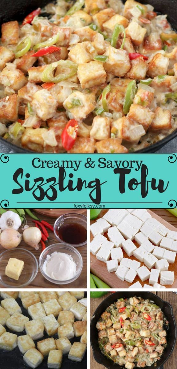 Spicy Sizzling Tofu with mayo and oyster sauce is a perfect appetizer or beer chow. Try this easy recipe now. | www.foxyfolksy.com #tofu #sizzlingtofu #filipinofood #beerfood