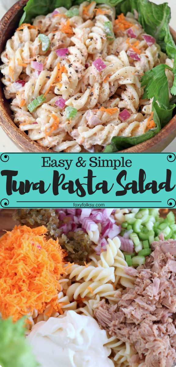 This easy and simple Tuna Pasta Salad can be done ahead of time and is perfect as a side or a stand-alone meal for parties, potlucks, and picnics. | www.foxyfolksy.com #pasta #salad #tuna #quickandeasyrecipe #potluck #sidedish