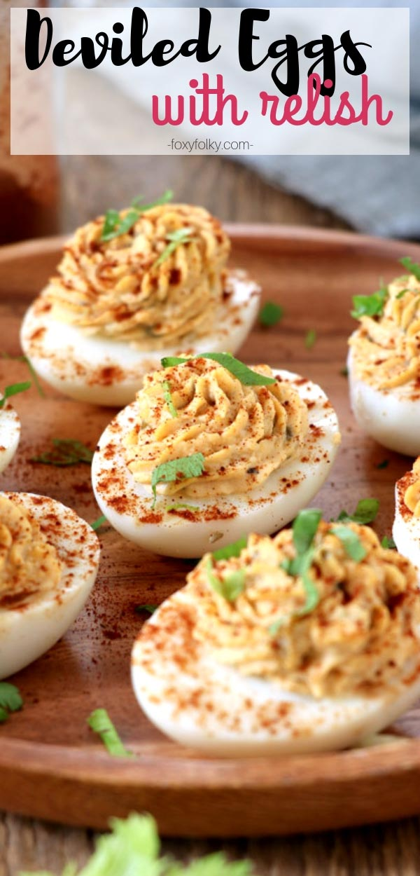 These Deviled Eggs with Relish are made special by the little added sweetness and tanginess. Perfect for snacks, finger-food or appetizer and is a definite party pleaser. | www.foxyfolksy.com #appetizers #snacks #fingerfood #eggs #quickandeasyrecipe #partypleaser