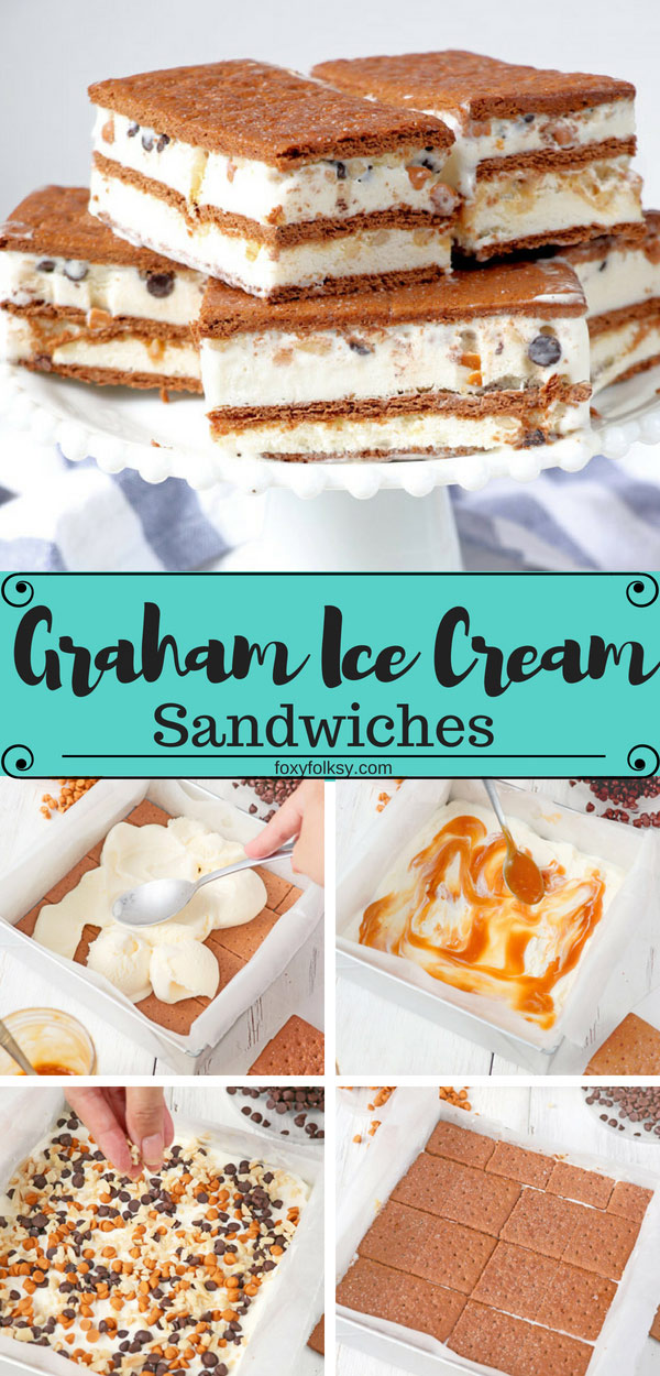 This Graham Ice Cream Sandwich is a fun project for the kids as it is very easy to make and a great treat this summertime to cool you down. | www.foxyfolksy.com #dessert #snack #summertreat #icecream