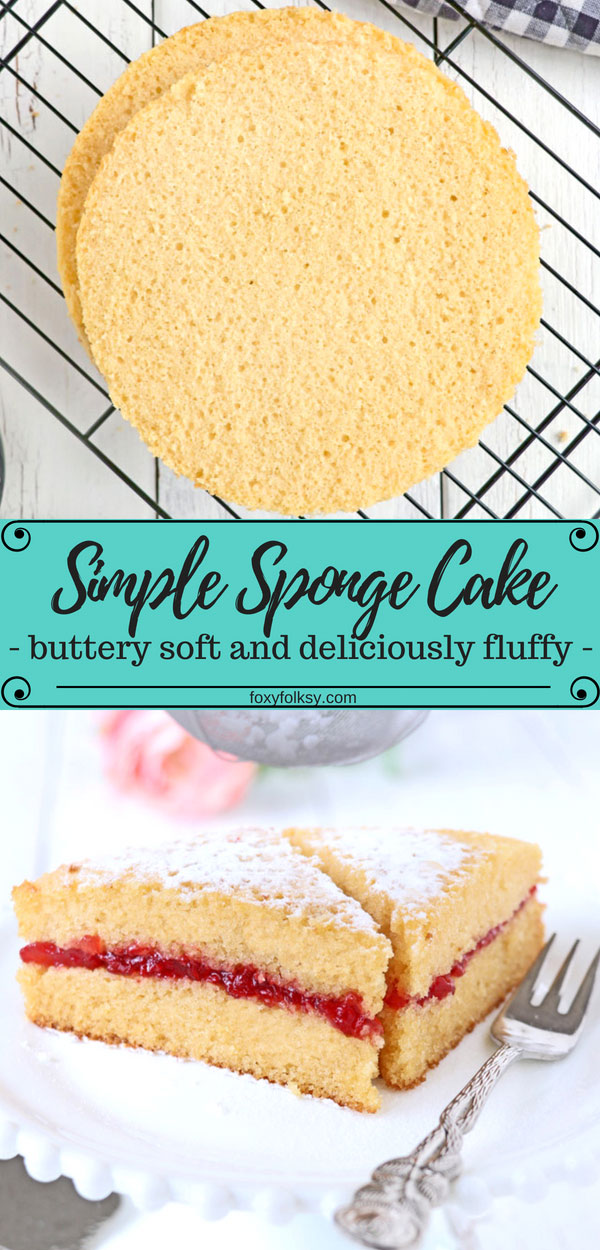 This is a very simple Sponge cake recipe and you probably have all the ingredients already in sponge cake your pantry. Use to make other delicious cakes but is also perfect on its own with your favorite jam for coffee or tea time. | www.foxyfolksy.com #cake #dessert #baking #spongecake