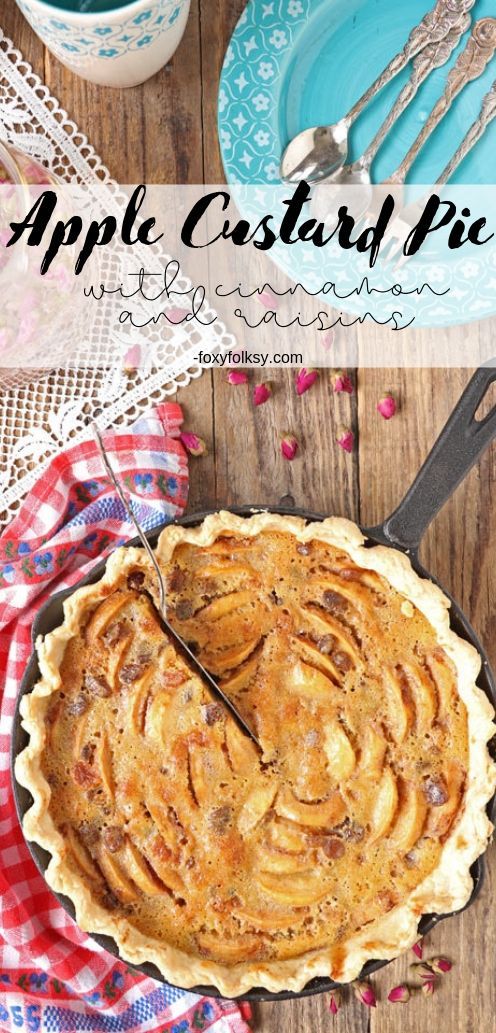 This Apple Custard Pie is made flavorful and aromatic by adding cinnamon and raisins. Try this easy apple pie recipe now! |www.foxyfolksy.com #applepie #custard #german #pie #dessert