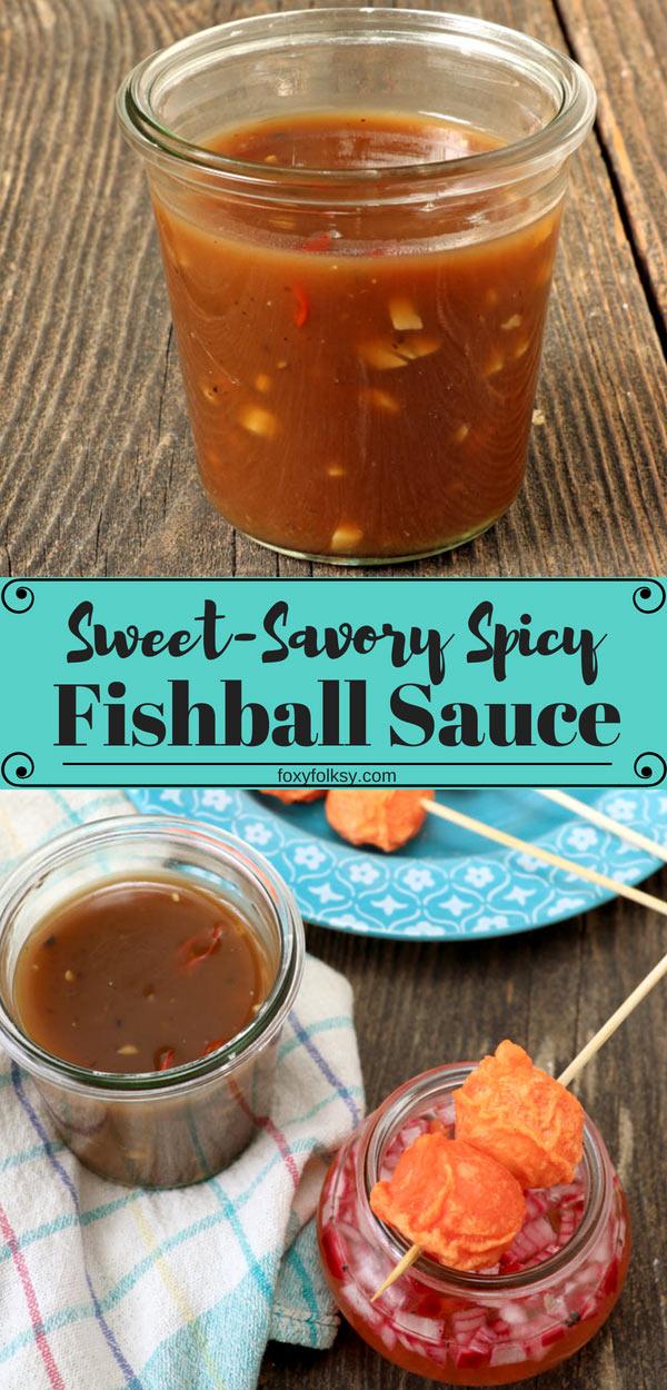 This sweet and spicy Fishball Sauce recipe is a one-for-all sauce for your favorite Filipino street food like fishballs, squidballs, kikiam, and kwek kwek. | www.foxyfolksy.com #dip #sauce #filipino #filipinofood #streetfood