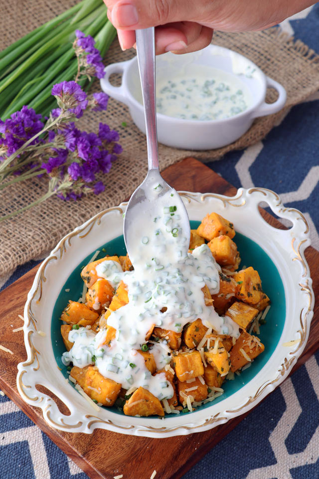 Baked Sweet Potato Cubes with Parmesan and Sour Cream-Chives