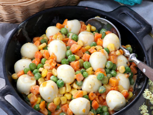 Mixed Vegetables With Quail Eggs Foxy Folksy