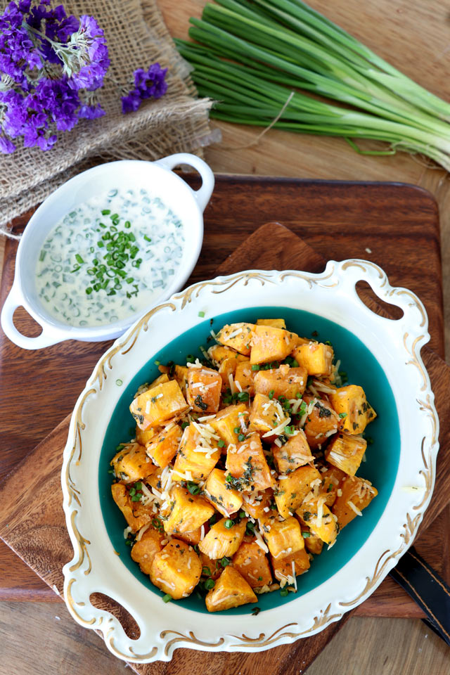 Baked Sweet Potato Cubes with Parmesan